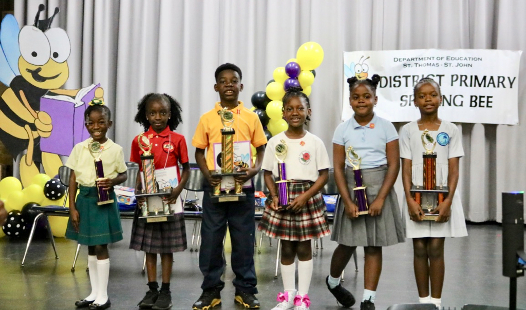 From left, Ze'Yah Francis, Amirah Hector, Cairo Leonard, Yaliya Felix, Kai-Lan Leatham,A'Shara Liburd hold their hard-won trophies. (Photo submitted by V.I. Department of Education)
