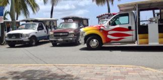 Taxis wait to take tourists around St. John.