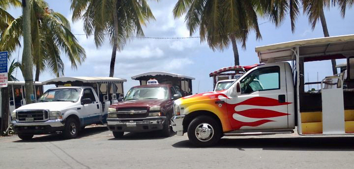 Taxis wait to take tourists around St. John.