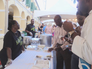 The Kallalloo Man serves up tasty stew for the crowd. He won second place for Soups and Stews. (Susan Ellis photo)
