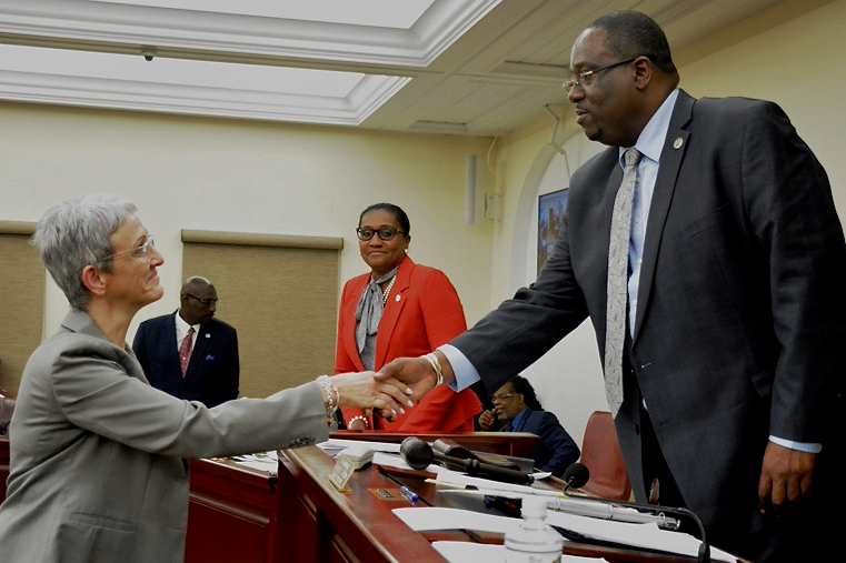 Jessica Gallivan is congratulated by Senate President Kenneth Gittens after lawmakers approved her nomination to the Superior Court bench. (Photo by Barry Leerdam, Legislature of the Virgin Islands)