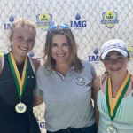 Jeanette Mireles (left) defeated Calissa Dellabarca (right) as the top girl player in the USVI Cup held last week on St. Croix. USVI Tennis Association President Kelly Kuipers presented the competitors with medals. (Submitted photo)
