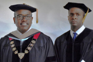 Gov. Albert Bryan, the first elected governor to graduate from the University of the Virgin Islands, and attorney Bakari Sellers, keynote speaker for the UVI commencement.
