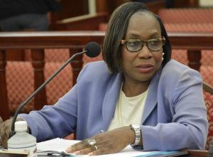 Debra Watlington testifies to the Senate Committee on Rules and Judiciary.(Photo by Barry Leerdam, Legislature of the Virgin Islands)