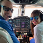 """William """"Billy"""" Bohlke and Ashley Bouzianis head home after the 2019 Caribavia in the BIA MU-2 jet. (Anne Salafia photo)"""