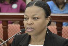 Budget Director Jenifer O'Neal testifies Tuesday. (Photo by Barry Leerdam for the USVI Legislature)