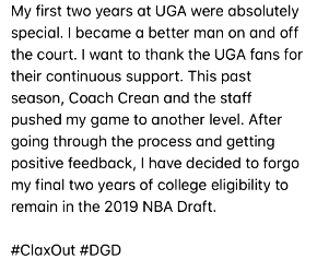 On May 28 Claxton tweeted this message announcing his eligibility for the 2019 NBA Draft.