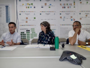 EPA regional administrator Peter Lopez, Carmen Perez, director of the Caribbean Environmental Protection Division and Jose Font, EPA deputy director for the region, talk with media. (Susan Ellis photo)