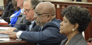 A panel of government agency representatives testify on their departments' hurricane preparedness plans. (Photo by Barry Leerdam, USVI Legislature)