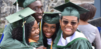 The four graduates from St. Croix Seventh-day Adventist School Class of 2019 share a hug. From left, Mahlana Graham, Shomari Francis, Stacy Frederick, Chanel Aubert.