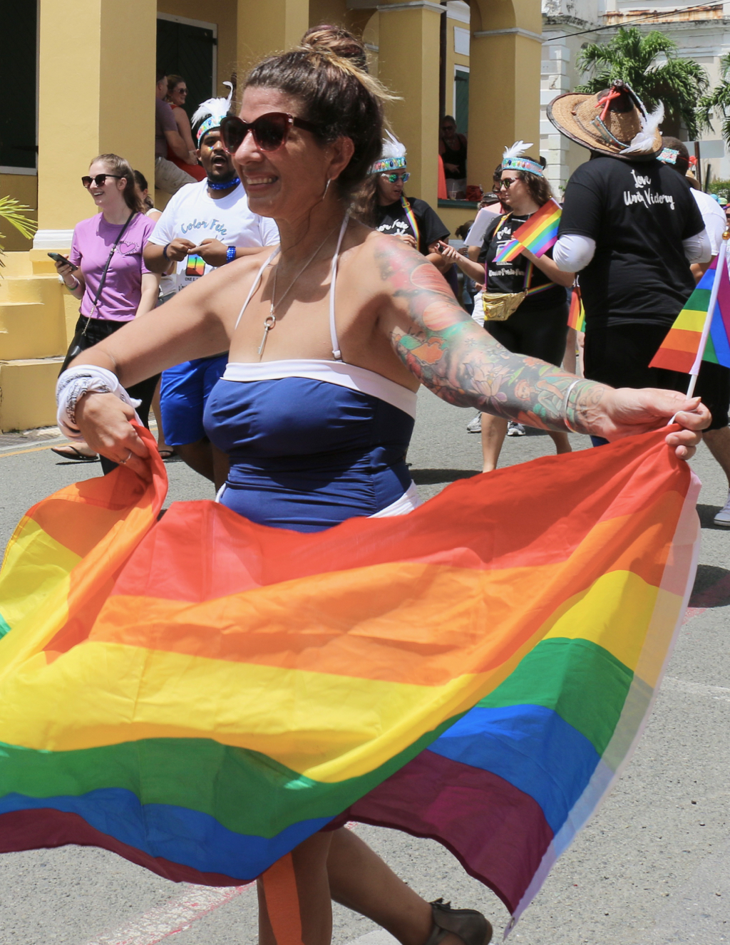 Rainbow flags and banners were in abundance during the parade. (Linda Morland photo)