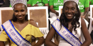 Miss St. John Festival Queen Lenisha Richards and Junior Miss St. John Festival Tamyra Bartlette were on hand for the village opening. (Source photo by Amy Roberts)