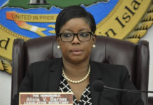 Sen. Alicia Barnes expresses frustration with the representative from various government agencies testifying Wednesday on hurricane preparedness. (Photo by Barry Leerdam, USVI Legislature)
