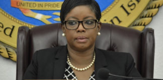 Sen. Alicia Barnes expresses frustration with the representative from various government agencies testifying Wednesday on hurricane preparedness. (Photo by Barry Leerdam, USVI Legislature)