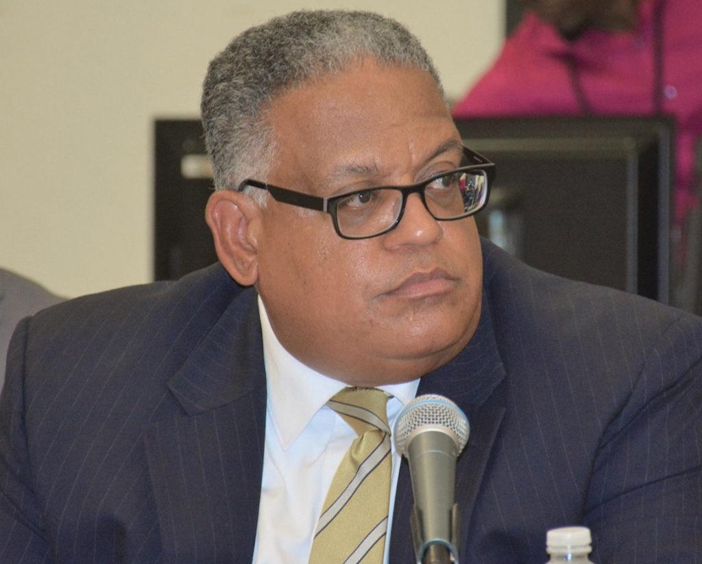 Tourism Commissioner Joseph Boschulte defends his department's budget before the Senate Finance Committee Thursday. (Photo from USVI Legislature)