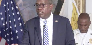 Gov. Albert Bryan speaks at Monday's news conference. (Image captured from the V.I. Government's livestream of the press conference)