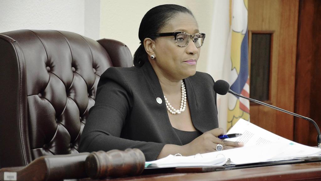Sen. Donna Frett-Gregory listens to testimony on a bill involving EDA benefits. (Photo by Barry Leerdam, USVI Legislature)