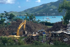 Irma storm debris was piled at the Coral Bay ball field after the hurricane. (Source photo by Amy Roberts)