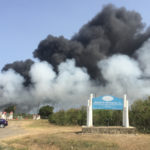 Smoke from landfill fire drifts toward the airport and Frederiksted Sunday afternoon. (Source photo by Susan Ellis)