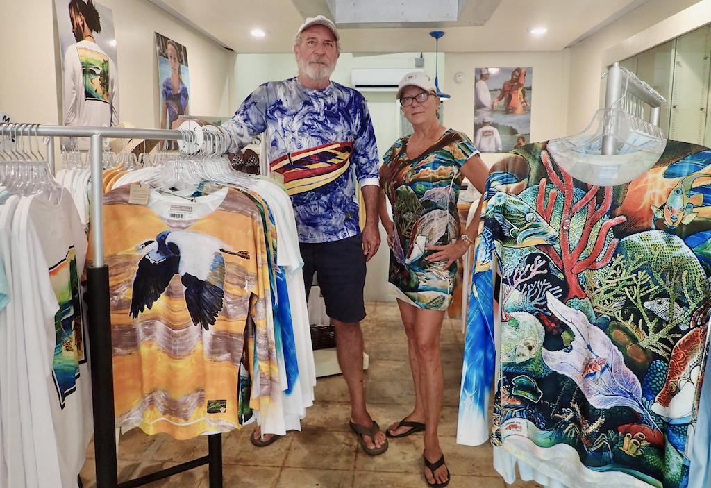 Bert Woodsen and Bobbi Corona Jones model SPF 50 clothing from Sublime in Caravelle Arcade. (Source photo by Susan Ellis)