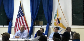 From left, Ramon Guerrito, Angie Zays-Ortiz, Carlos Escolar and Patrick Farrell listen to the concerns of veterans. (Source photo by Kyle Murphy)