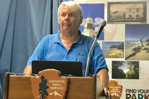 Local archeologist David Hayes presents his stories Thursday. (Source photo by Elisa McKay)