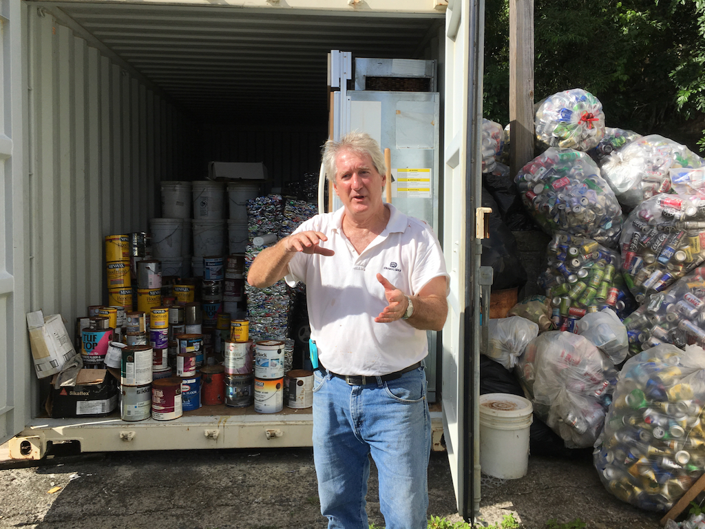Gary Ray explains how a recycling center would work for the USVI. (Source photo by Amy Roberts)