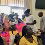 The possibility of the PSC ruling on a WAPA request for a rate increase brought out a crowd of demonstrators. (Source photo by Bethaney Lee)