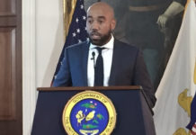 Richard Motta, director of communications for Gov. Albert Bryan Jr. Bryan, addresses the media at Government House, St. Croix. (Source photo by Susan Ellis)