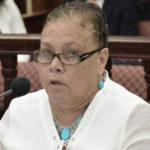 Assistant Education Commissioner Marie Encarnacion tells senators that metal batons send the wrong message to students. (Photo by Barry Leerdam, V.I. Legislature)