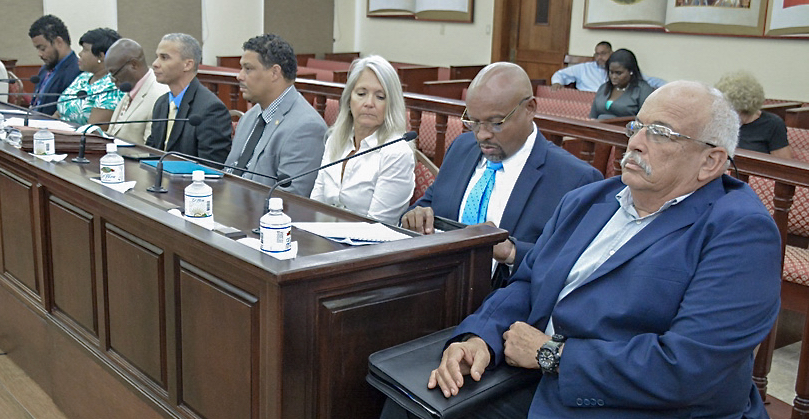 Senators had a row of exports to inform them on the status of port projects. (Photo by Barry Leerdam, V.I. Legislature )