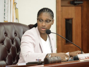 Sen. Janelle Sarauw chairs the Senate Committee on Rules and the Judiciary Wednesday. (Photo by Barry Leerdam for the USVI Legislature)