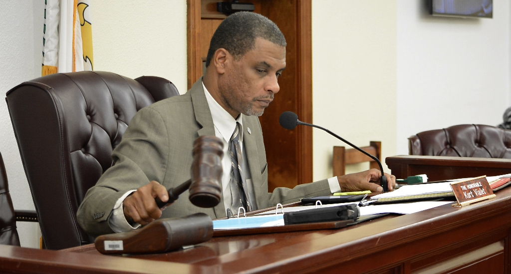 Sen. Kurt Vialet chairs the Senate Finance Committee hearing Thursday. (Photo by Barry Leerdam for the USVI Legislature)