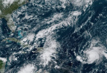Thursday morning satellite photo shows Hurricane Jerry, far right, approaching the Caribbean. (NOAA photo)
