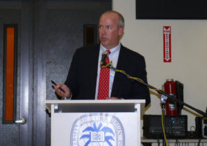 Alpine Energy President James Beach talks about the trash-to-energy project to a crowd in 2010 at UVI's Great Hall on the St. Croix campus. (Source file photo by John Baur)