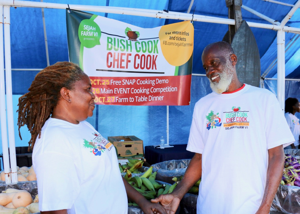 Passionate about agriculture and education, Yvette and Dale Browne of Sejah Farm V.I. take a minute together during Bush Cook Chef Cook Competition. (Source photo by Linda Morland)