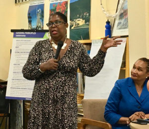 DOE architect Chaneel Callwood-Daniels talks about plans for new schools in the Virgin Islands. (Source photo by Susan Ellis)