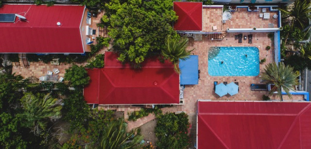 Aerial view of the Sugar Apple Bed and Breakfast. (Photo by Blake Gardner)