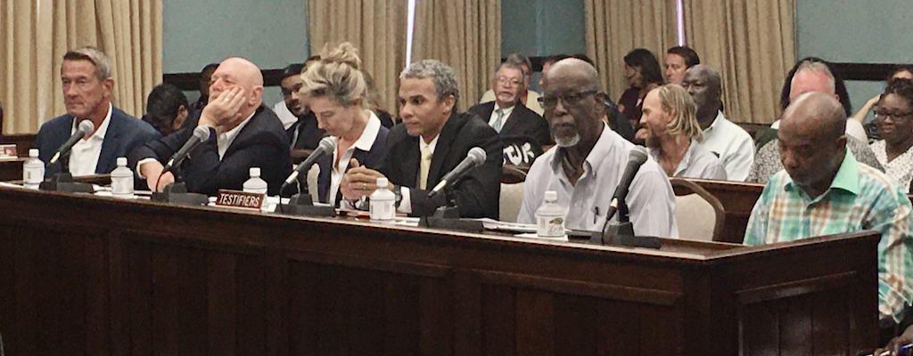 Lining up to testify are Rick Barksdale, Jeff Boyd, from left, Chaliese Summers, CZM Director Marlon Hibbert, Robert O'Connor Jr. and community activist Wayne Chinnery. (Source photo by Amy Roberts)