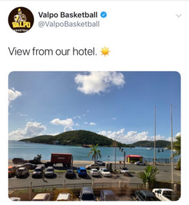 """A visitor the Valaparaiso tweeted this photo of 'the view from our hotel room"""" back to the college's Indiana hometown, where the temperature was a balmy 46 degrees."""