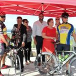 Joining the ribbon cutting for the new bike path on the Christiansted Bypass are bicyclist Mario Peters, AARP National Volunteer President Alicia Georges, AARP-VI State Volunteer President Corinne Plaskett, AARP-VI State Director Troy de Chabert-Shuster, AARP Chief Executive Officer Jo Ann Jenkins, Alma Winkfield of the V.I. Trail Alliance and bicyclist David Morales. (Source photo by Linda Morland)