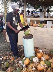 Percival Tahema Edwards puts on a display cutting a mound of coconuts at the fourth annual Crucian Coconut Festival. (Source photo by Darshania Domingo)