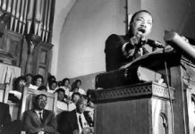 Martin Luther King Jr. addresses a capacity audience at Riverside Church, New York City on April 4, 1967.