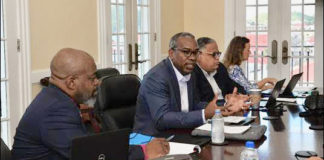 Gov. Albert Bryan Jr. and Tourism Commissioner Joseph Boschulte, center, convened the first meeting of the Governor's Marine Task Force this week. (Photo submitted by Government House)