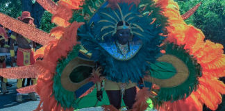 A feathered parade troupe member seems to create an odd creature as it marches through Frederiksted. (Source photo by Don BUchanan)