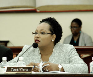 Education Commissioner Racquel Berry-Benjamin testifies during Tuesday's Senate Committee on Education and Workforce Development meeting. (V.I. Leguslature photo)