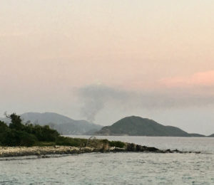 Feb, 3 dump fire as seen from Lovango Cay. (Source photo by Amy Roberts photo)