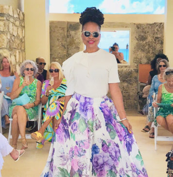Melody Rames models floor length flowered skirt with white top. (Source photo by Elisa McKay)