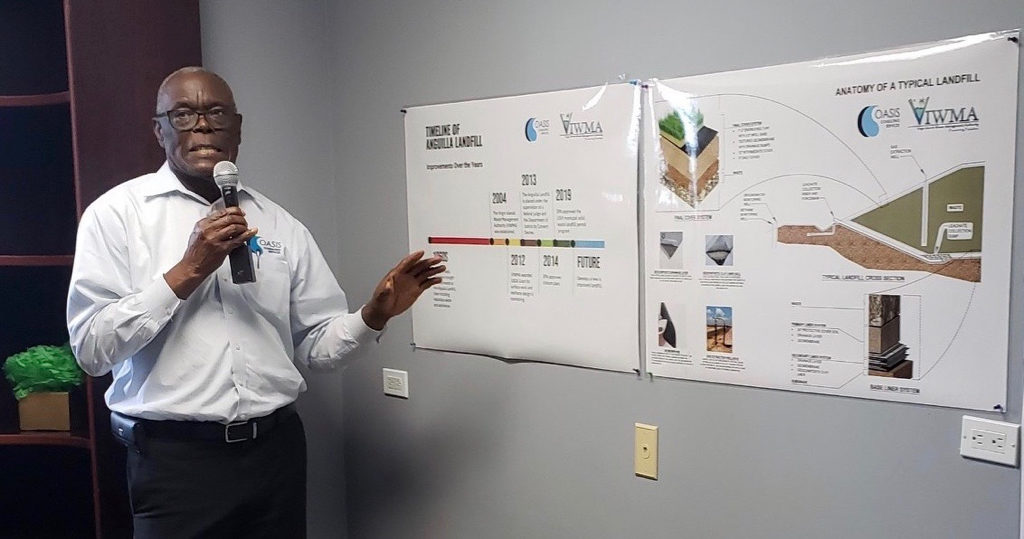 Oasis Senior Vice President Glenn Wallace at Tuesday's news conference describes the process for closing the Anguilla landfill. (Courtesy of the Waste Management Authority)