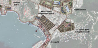 """The drawing in the Urban Land Institute's report on recommendations for rebuilding St. Thomas shows some of consultant's suggestions for changes to the """"study area"""" in and near downtown Charlotte Amalie."""